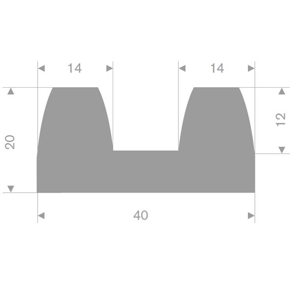 B-fender 40x20 mm grå TPE - Løpemeter