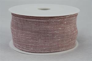Band 50 mm 8 m/r pale berry linne med tråd