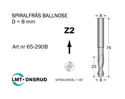 Spiralfräs Ballnose D=8 L=25 TL=76 S=8