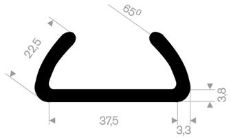 U-profil 37,5/44,1x22,5 mm sort EPDM - Løpemeter