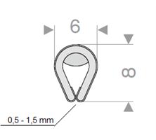 Kantprofil 6x8 mm krom (0,5-1,5 mm) - Løpemeter