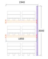 Följdsektion h:3000 b:1850 mm 2 nivåer