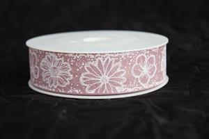 Band 25 mm 18 m/r flowers berry/vit ej tråd