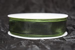 Band 25 mm 25 m/r m.grön taft med tråd