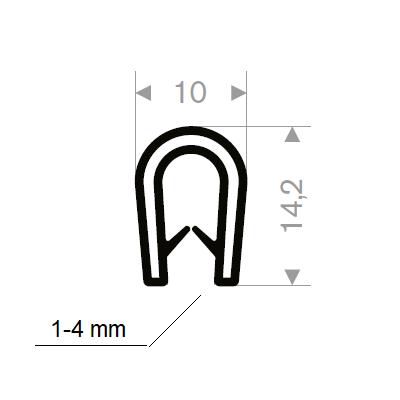 Kantprofil 10x14,2 mm sort (1-4mm) - Løpemeter
