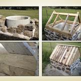 Nybyggnation av ett litet pumphus över en djup borrad brunn. Grund i gråsten och KC-bruk, syllvarv i ek, takstomme och panel i gran.
