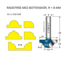 Radiefräs R=8 L=13 S=8