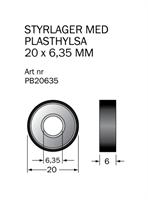 Kullager 20x6,35 med plasthylsa