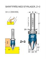Skriftfräs 30° Z=3 m styrlager M-168