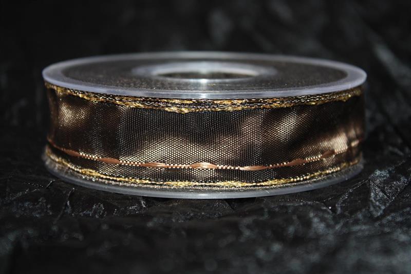Band 25 mm 20 m/r brun med guldkant