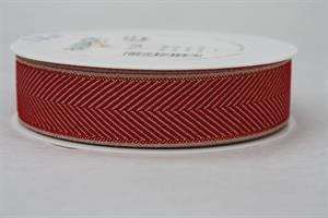 Band 25 mm 20 m/r fiskben röd/linne/guld