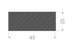 Firkantprofil 45x20 mm sort EPDM svamp -Løpemeter
