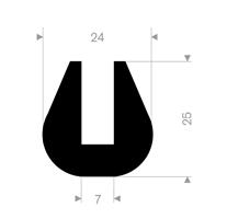 U-profil 7/24x25 mm Sort EPDM - Løpemeter
