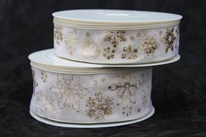 Band cream/guld snow star olika bredder