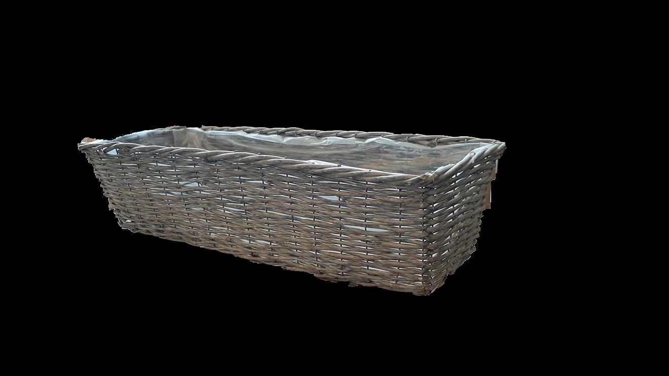 Balkonglåda korg grå 24x65cm H17cm