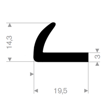 L-profil 19,5x14,3 mm sort EPDM - Løpemeter