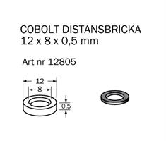 Shims-bricka 12 x 8 x 0,5mm