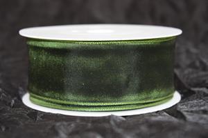Band 40 mm 25 m/r grön taft med tråd