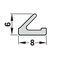 Silikon V-list 8x6 mm grå - 10 meter