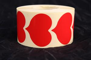 Sigilletikett Hjärta röd 4x4,7cm 1000/r