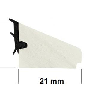 PVC glasslist 21x17 mm hvit m/tettelist - 250 cm