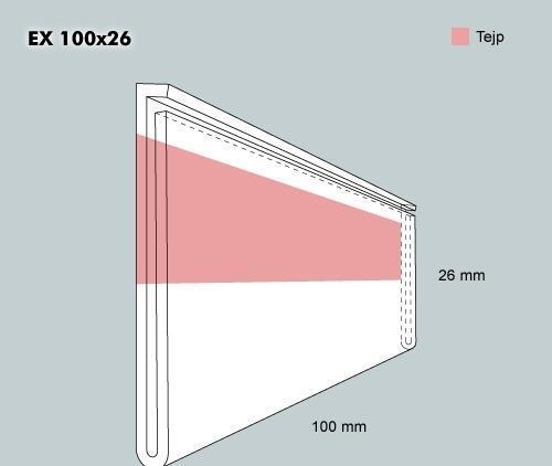 Etiketth. EX 100-26F rak tejp