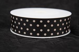 Band 25 mm 20 m/r svart med vita prickar