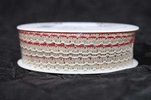 Band 7 mm röd/linne/vit 30 m/r