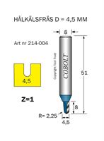 Hålkälsfräs R=2.3 D=4.5 L=8 TL=51 Z=1 S=8