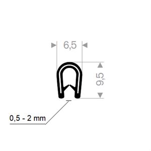 Kantprofil 6,5x9,5 mm Sort (0,5-2 mm) - Løpemeter