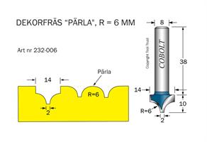 Dekorfräs Pärla R=6 D=14 S=8
