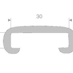 Håndløperprofil 30x8 mm Grå metallic - 25 meter