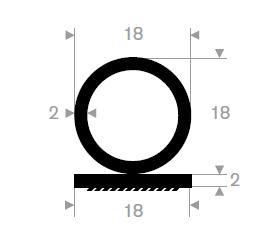 Lukeprofil 18x20 mm sort - Løpemeter