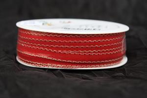 Band röd/linnekant 7 mm 30 m/r