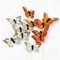Fjäril orange/vit 7cm 12/fp