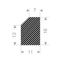Firkantprofil 11x16 mm sort EPDM svamp - Løpemeter