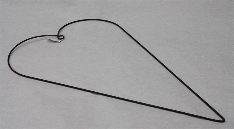 Metallhjärta med ögla 31x50cm svart