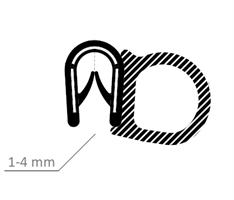 Kantprofil ST 36.119 sort (1-4 mm) - Løpemeter