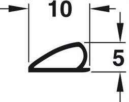 P-profil 10X5 mm Brun TPE - 6 meter