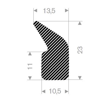 Firkantprofil 10,5x23 mm sort EPDM svamp - Løpem.