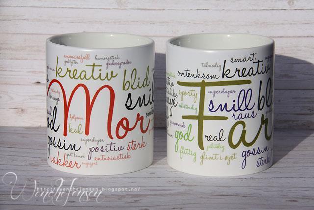 Kopper til mor og far, kan også lages til andre familiemedlemmer bl a.