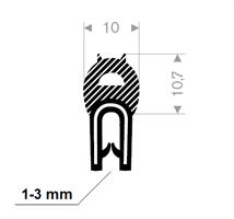Kantprofil ST 36.830 sort (1-3 mm) - Løpemeter