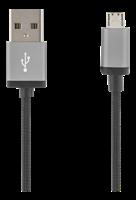 Kabel USB A - Mikro-B 1m Tygklädd svart