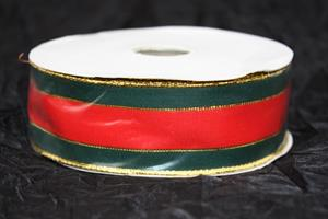 Band 40 mm röd/grön/guld med tråd