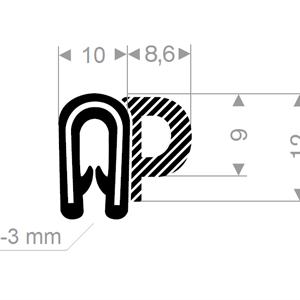 Kantprofil ST 36.140 sort (1-3 mm) - Løpemeter