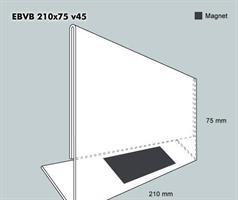 Etiketthållare EBVB 210-75F vinklad 45°