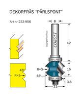 Pärlspont Dekorfräs R=3 45° L=15 D=21