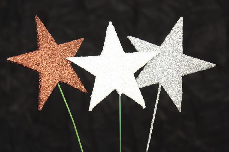 Glitterstjärna med tråd olika färger