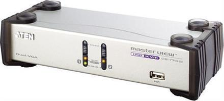 KVM-switch, 2 datorer, USB, för dubbla skärmar