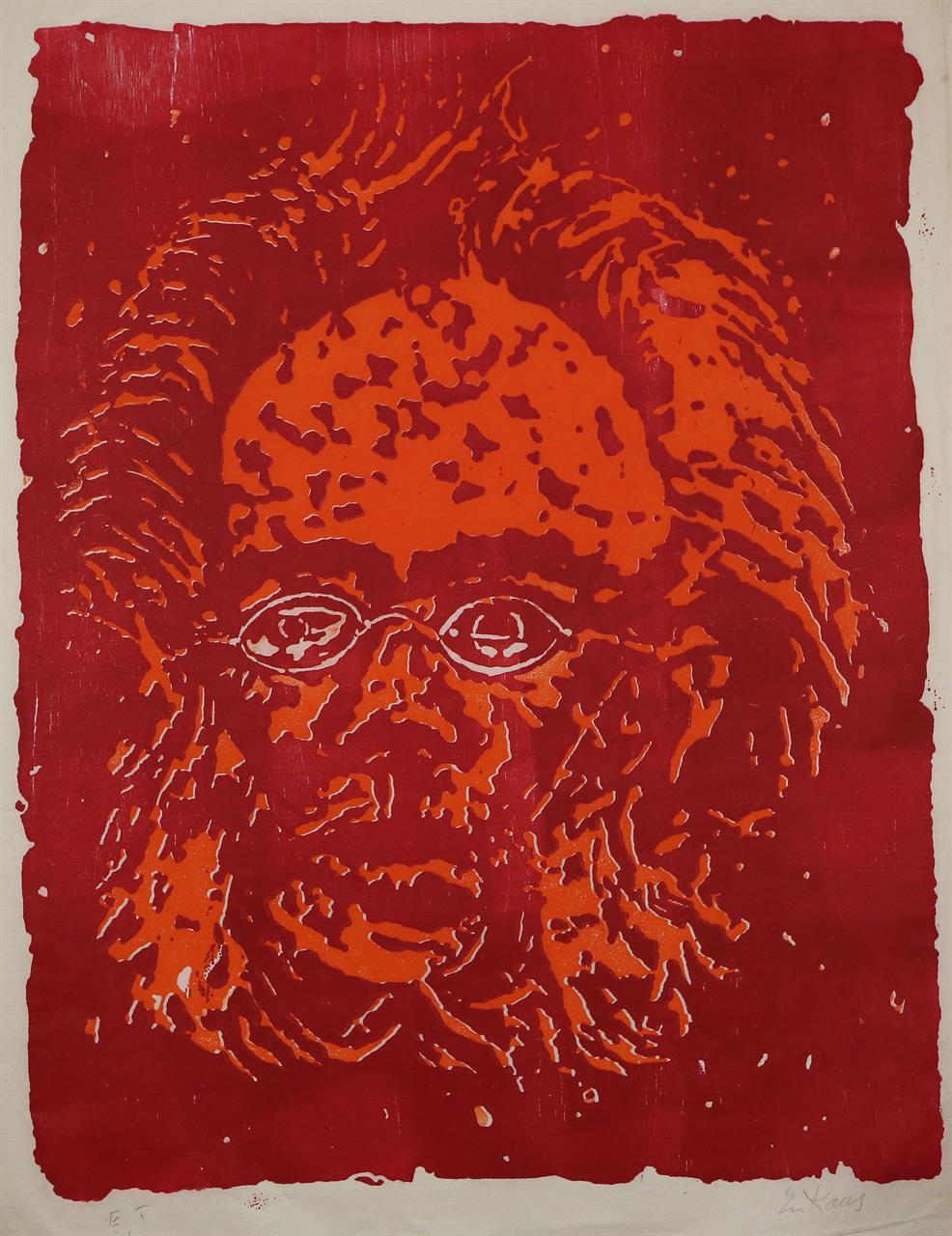 """Ibsen"" fargetresnitt, E.T., 72 x 57 cm."